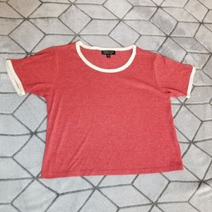 B29 Topshop Size 4 US Red With Yellow Shirt Top